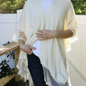 Open Weave Border Sweater Shawl One Size off white
